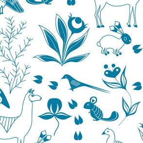 Andes Mountain Animals in Blue