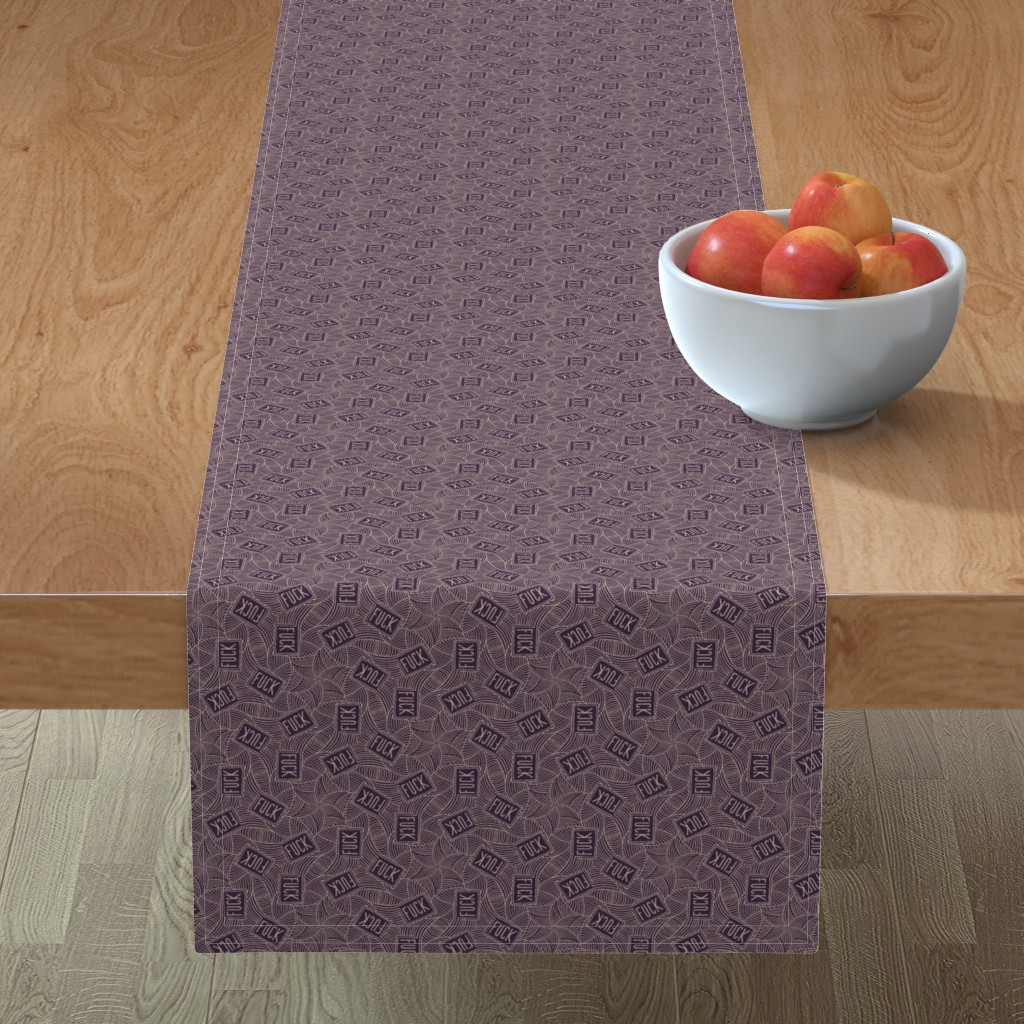 "Minorca Table Runner featuring Deco ""fuck"" by secretbean"