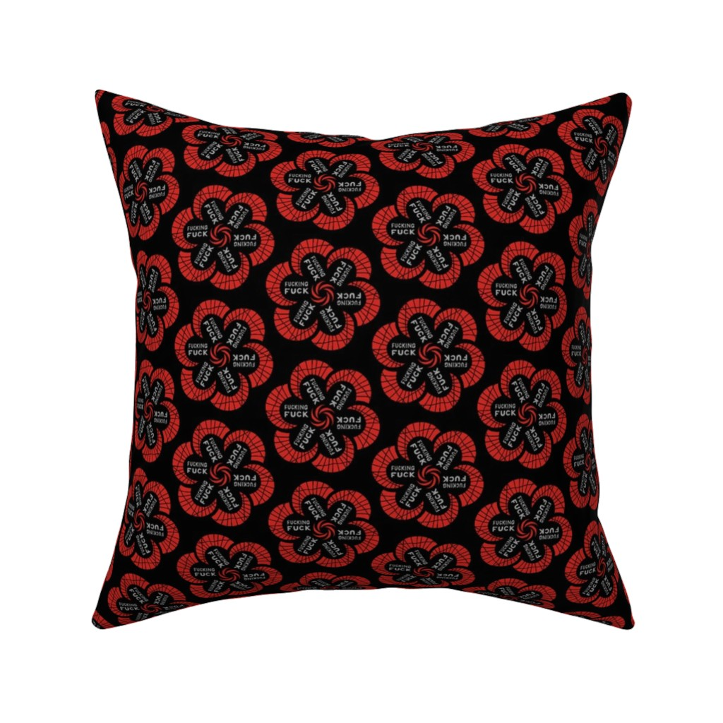 """Catalan Throw Pillow featuring Red flowers with """"fucking fuck"""" in grey by secretbean"""