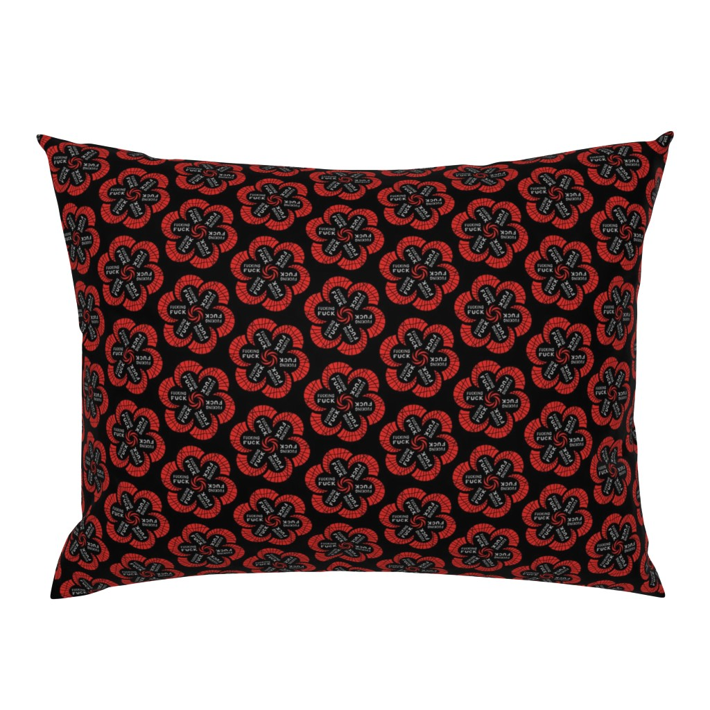 """Campine Pillow Sham featuring Red flowers with """"fucking fuck"""" in grey by secretbean"""