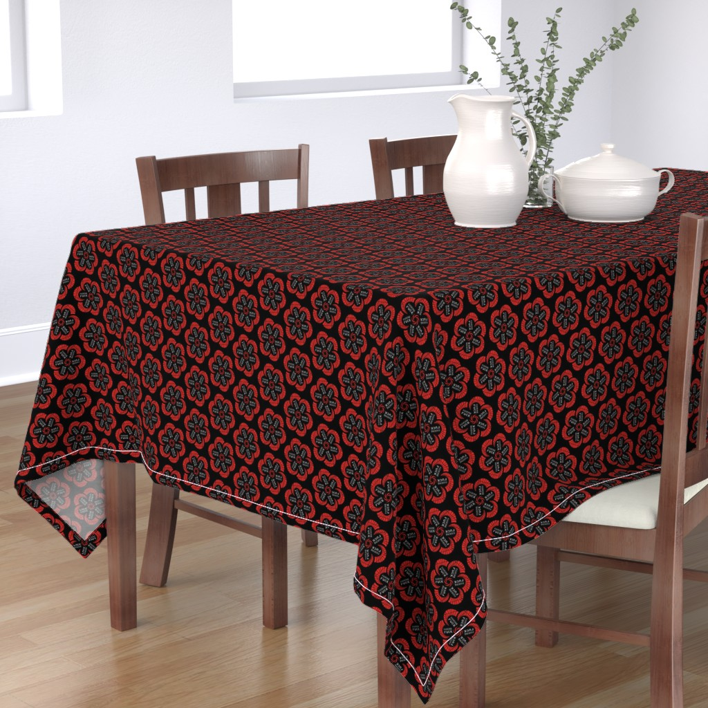 """Bantam Rectangular Tablecloth featuring Red flowers with """"fucking fuck"""" in grey by secretbean"""