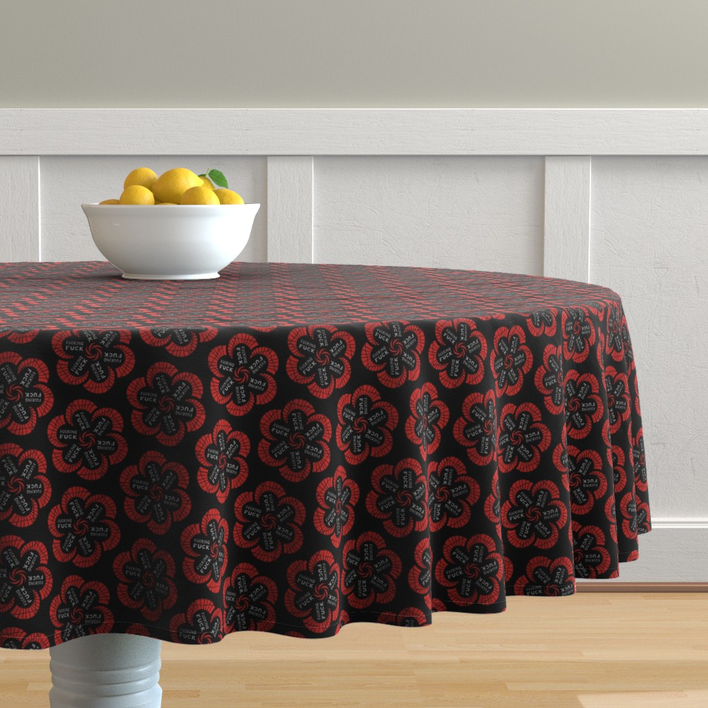 """Malay Round Tablecloth featuring Red flowers with """"fucking fuck"""" in grey by secretbean"""