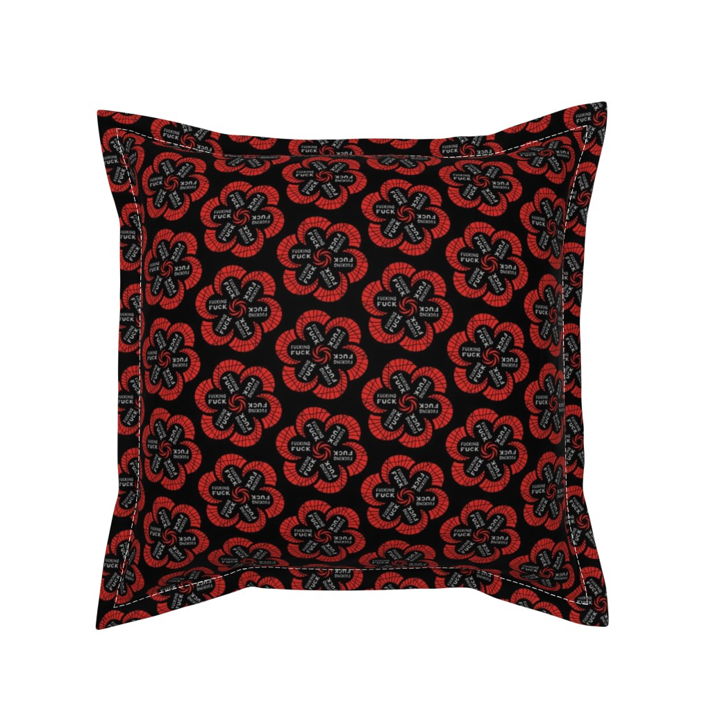 """Serama Throw Pillow featuring Red flowers with """"fucking fuck"""" in grey by secretbean"""