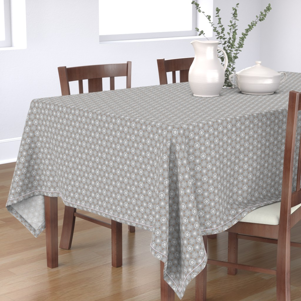 "Bantam Rectangular Tablecloth featuring ""fuck this. all of it."" white & grey pattern by secretbean"