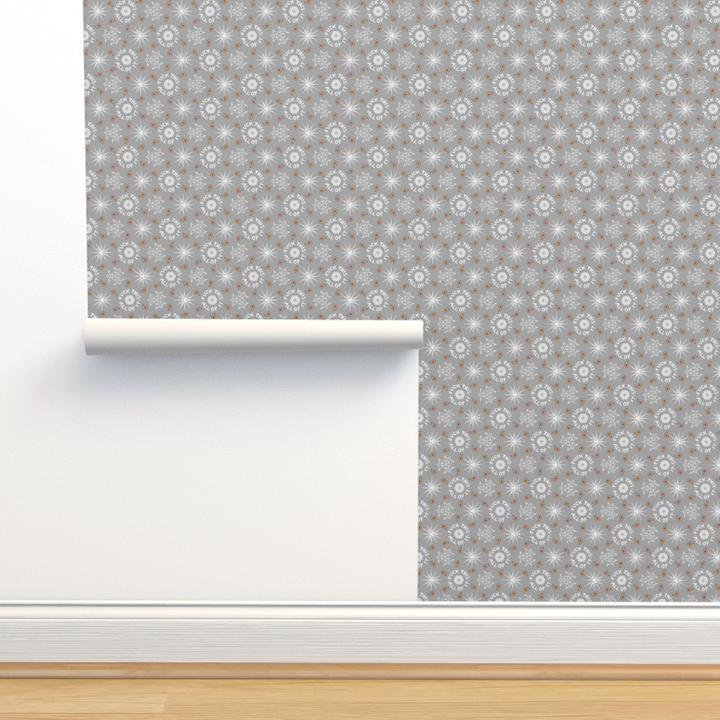 """Isobar Durable Wallpaper featuring """"fuck this. all of it."""" white & grey pattern by secretbean"""