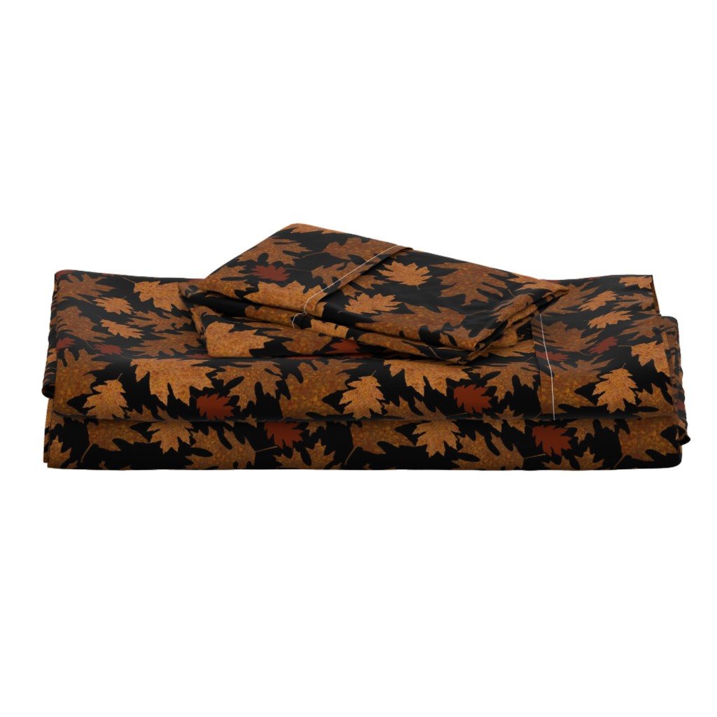 Langshan Full Bed Set featuring Rustic Golden Oak Leaves by theartofvikki