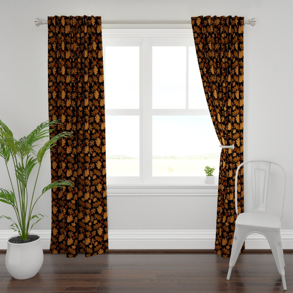 Plymouth Curtain Panel featuring Rustic Golden Oak Leaves by theartofvikki