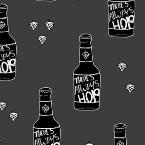 Daddy loves beer there's always hope funny hop bottle illustration gray