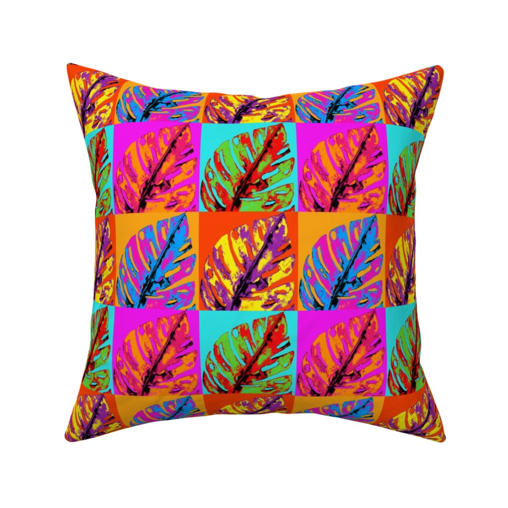 Catalan Throw Pillow featuring POP ART MONSTERA LEAVES END OF SUMMER by paysmage