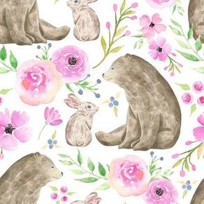 Bear & Bunny Friends - Pink Floral Woodland Baby Girls Nursery Bedding GingerLous A