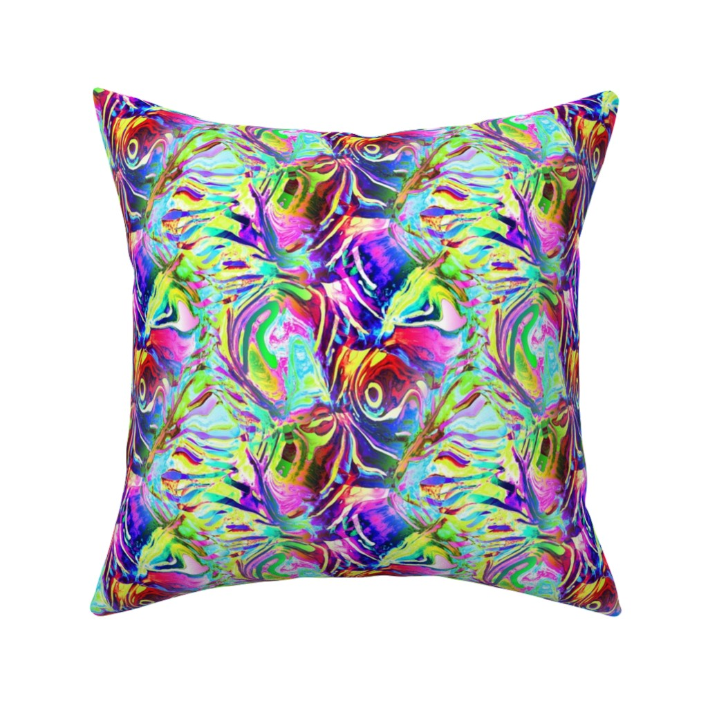 Catalan Throw Pillow featuring ABSTRACT KOI FISH GOLDFISH 3 aqua pink red underwater aquatic sea life by paysmage