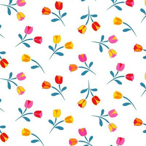 Swedish Folklore Floral Flowers WhiteTeal Leaves