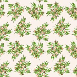 Gumnuts Ditsy, Peach & Bright Green on Vanilla