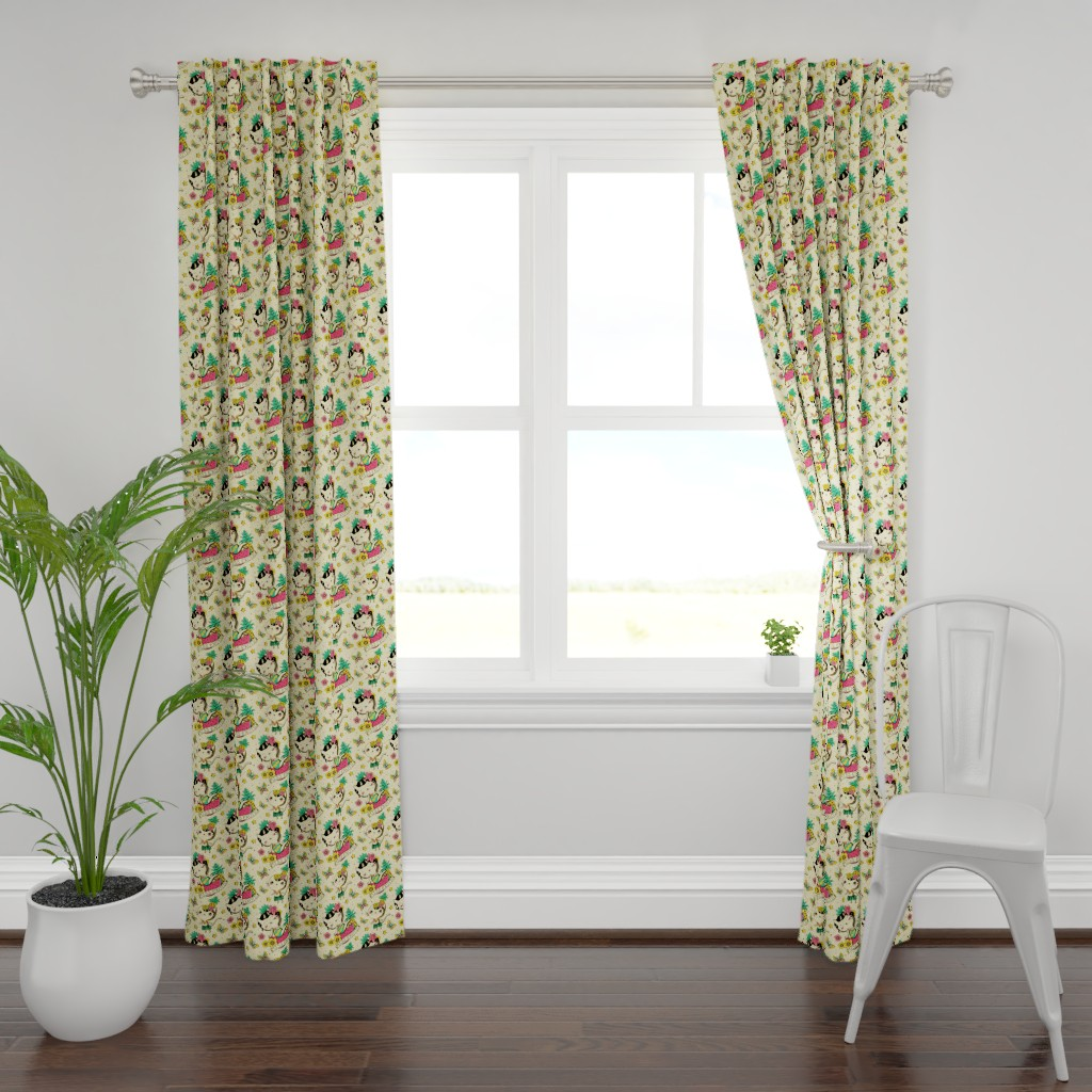 Plymouth Curtain Panel featuring Miss Exotic 2 by monika_suska