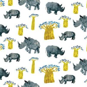 Watercolor Rhino ,the african safari adventure, baobab trees