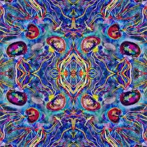 JELLYFISH DANCE KALEIDOSCOPE WATERCOLOR BLUE AQUA MULTI