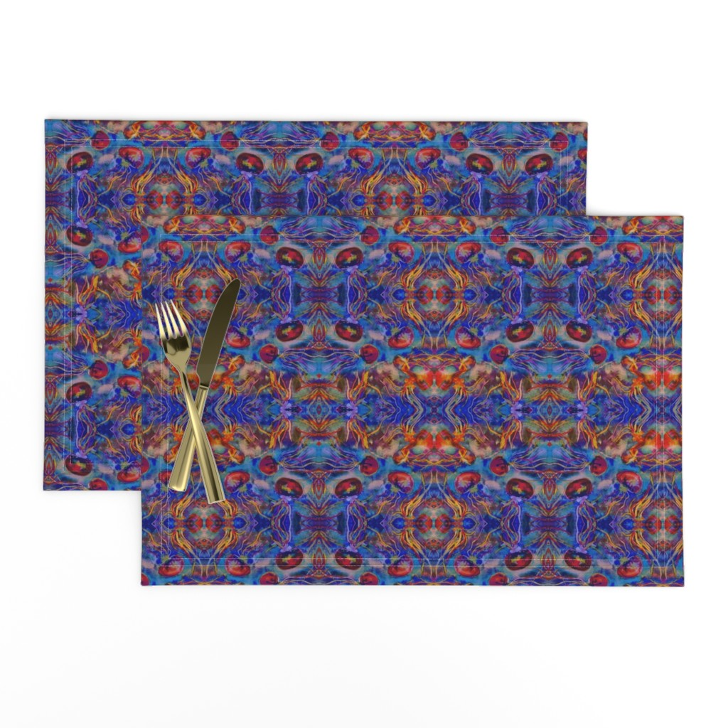 Lamona Cloth Placemats featuring JELLYFISH DANCE KALEIDOSCOPE WATERCOLOR BLUE ORANGE by paysmage