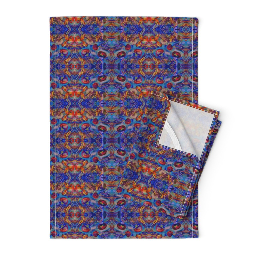 Orpington Tea Towels featuring JELLYFISH DANCE KALEIDOSCOPE WATERCOLOR BLUE ORANGE by paysmage