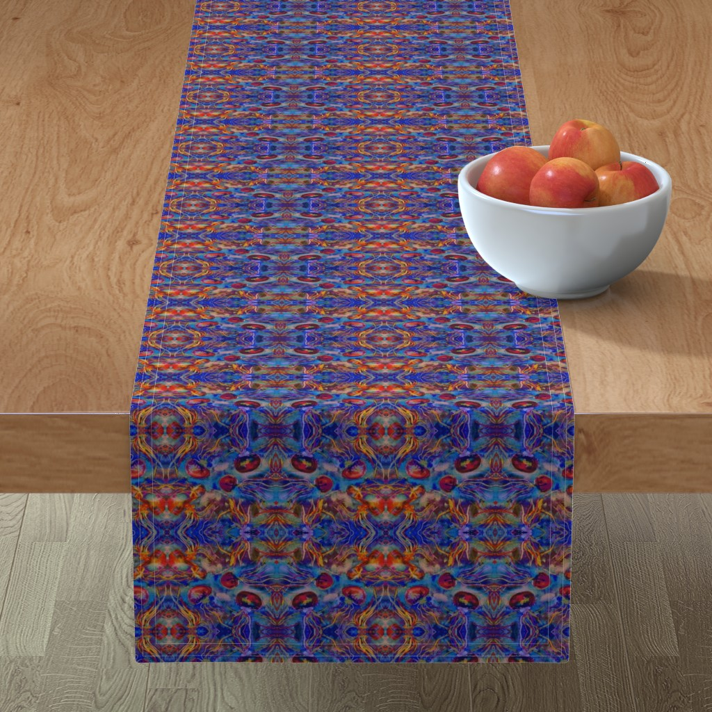 Minorca Table Runner featuring JELLYFISH DANCE KALEIDOSCOPE WATERCOLOR BLUE ORANGE by paysmage