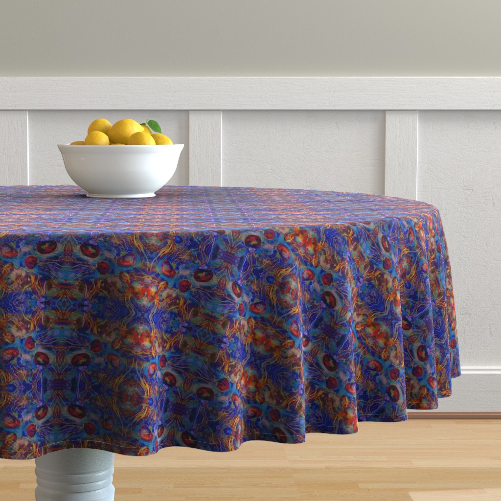 Malay Round Tablecloth featuring JELLYFISH DANCE KALEIDOSCOPE WATERCOLOR BLUE ORANGE by paysmage
