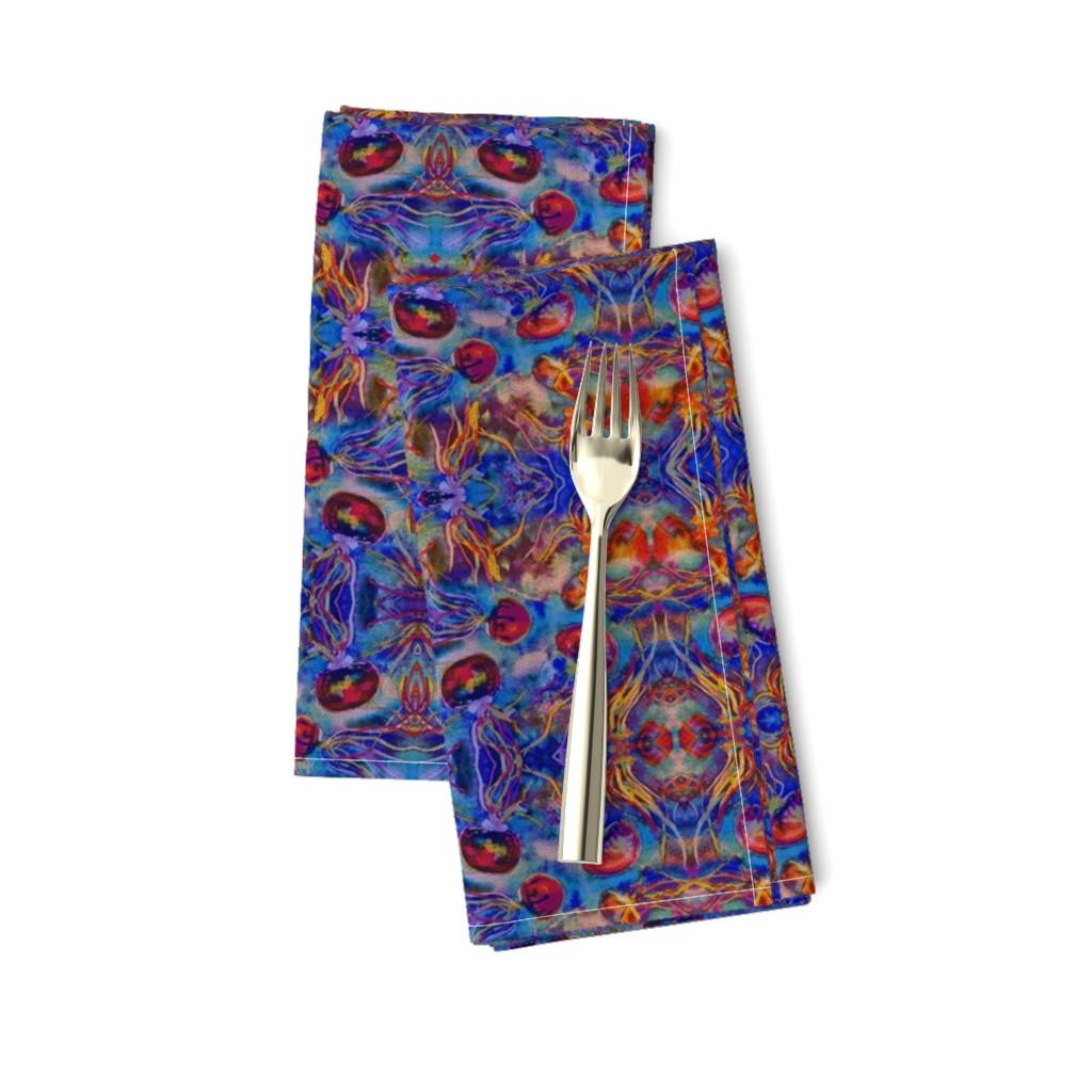 Amarela Dinner Napkins featuring JELLYFISH DANCE KALEIDOSCOPE WATERCOLOR BLUE ORANGE by paysmage