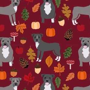 pitbull autumn leaves fabric fall autumn woodland dog fabric - ruby red