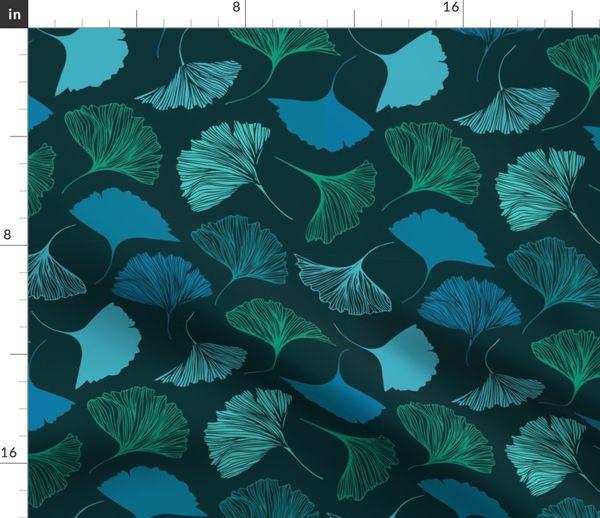 Magic Ginkgo By Silmen Teal Blue Green Ginkgo Leaf Custom Printed Removable Self Adhesive Wallpaper Roll by Spoonflower Ginkgo Wallpaper