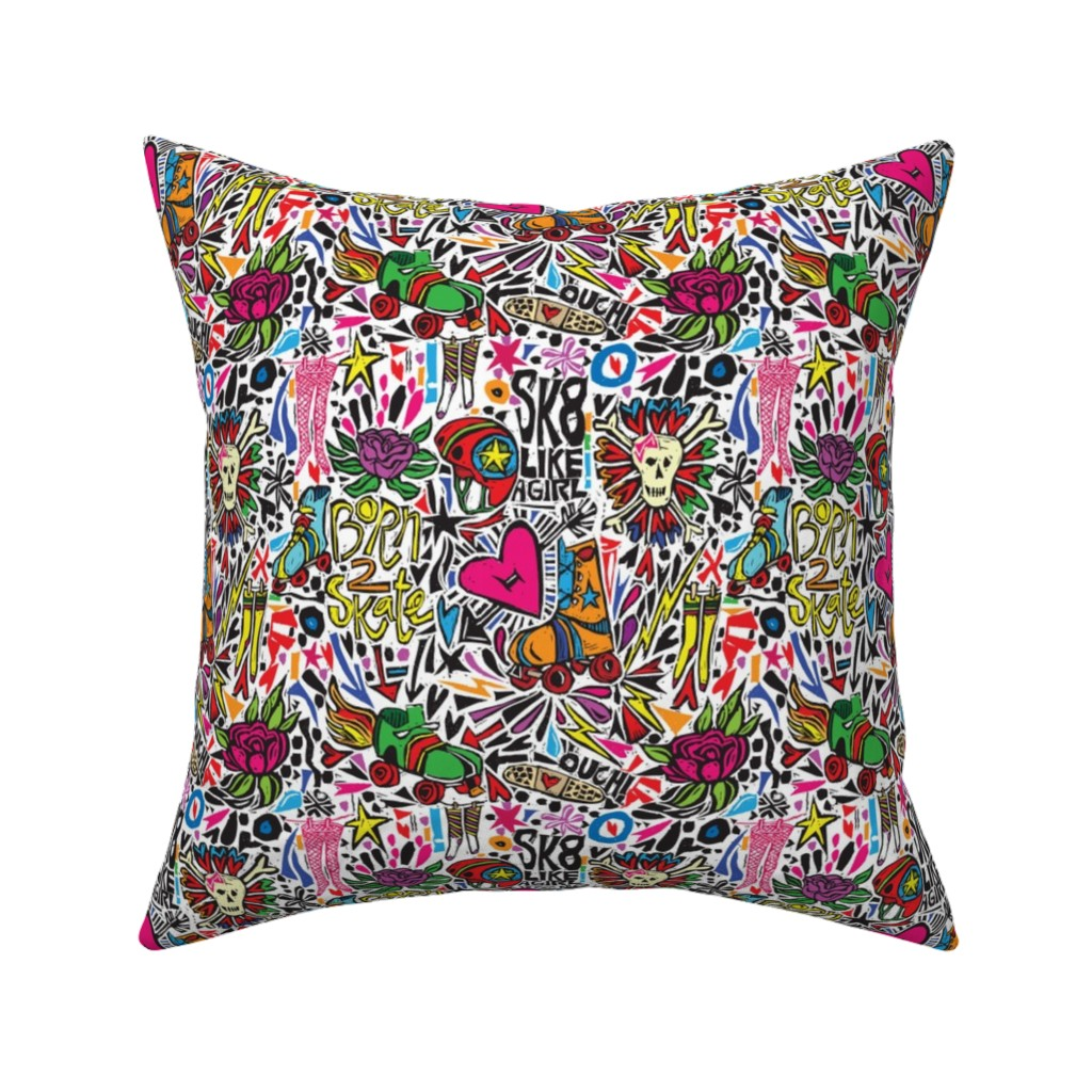 Catalan Throw Pillow featuring BORN 2 SK8 by gsonge