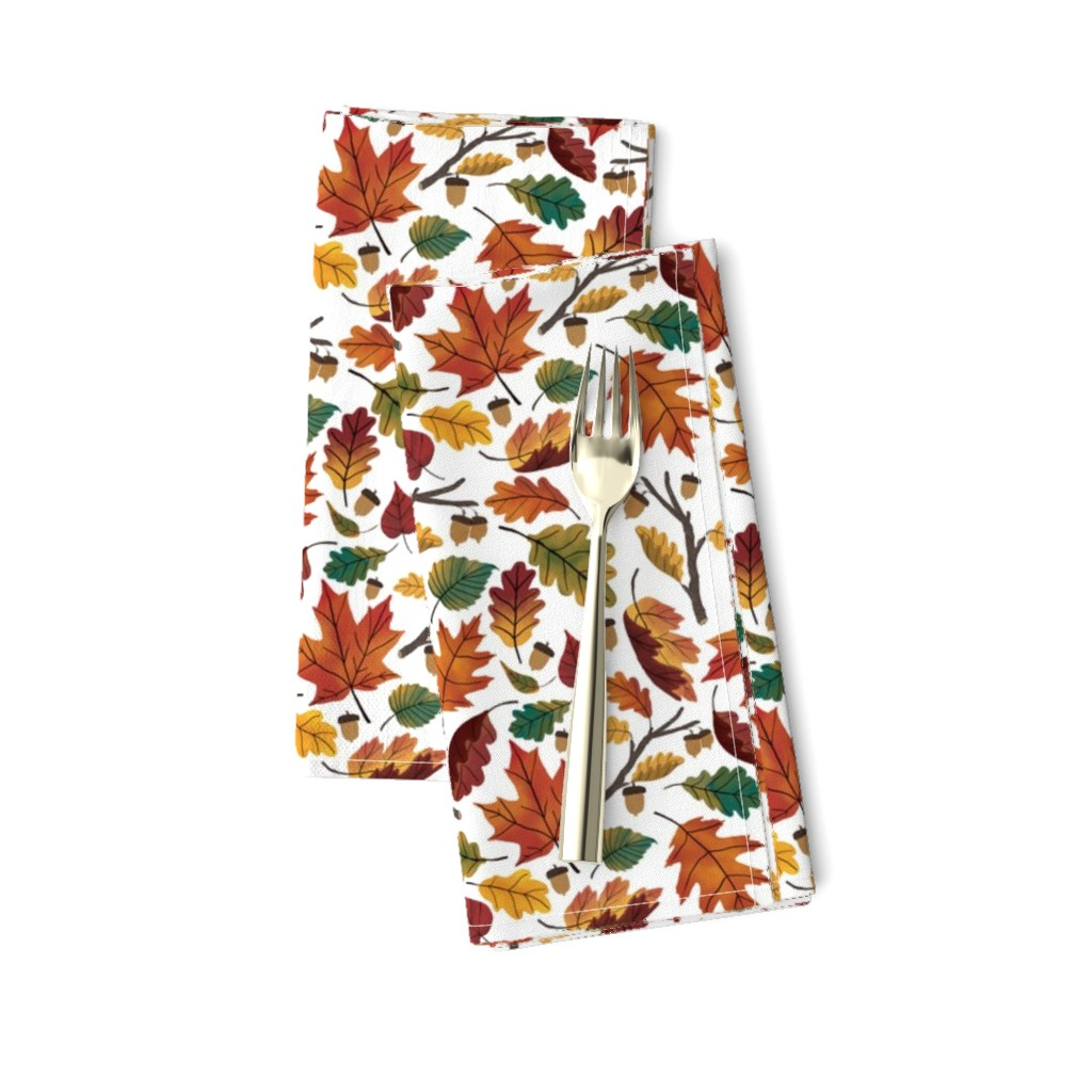 Amarela Dinner Napkins featuring Fall Leaf Pattern by illustratedgoods