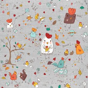 autumn chicken scratch - gray