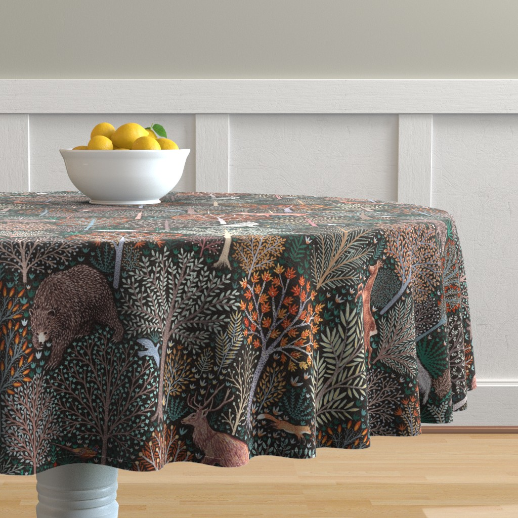 Malay Round Tablecloth featuring Rustic Fall - Forest animals - les animaux de la fôret by rebecca_reck_art