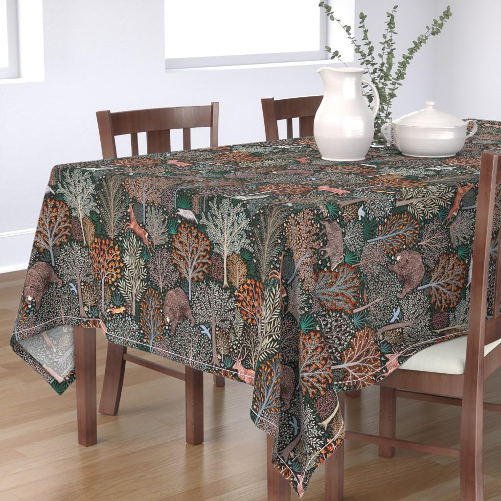 Bantam Rectangular Tablecloth featuring Rustic Fall - Forest animals - les animaux de la fôret by rebecca_reck_art