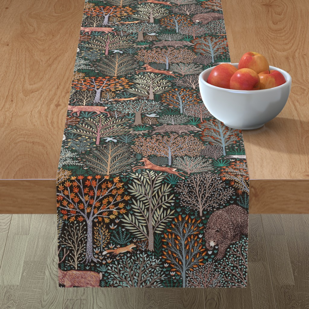 Minorca Table Runner featuring Rustic Fall - Forest animals - les animaux de la fôret by rebecca_reck_art