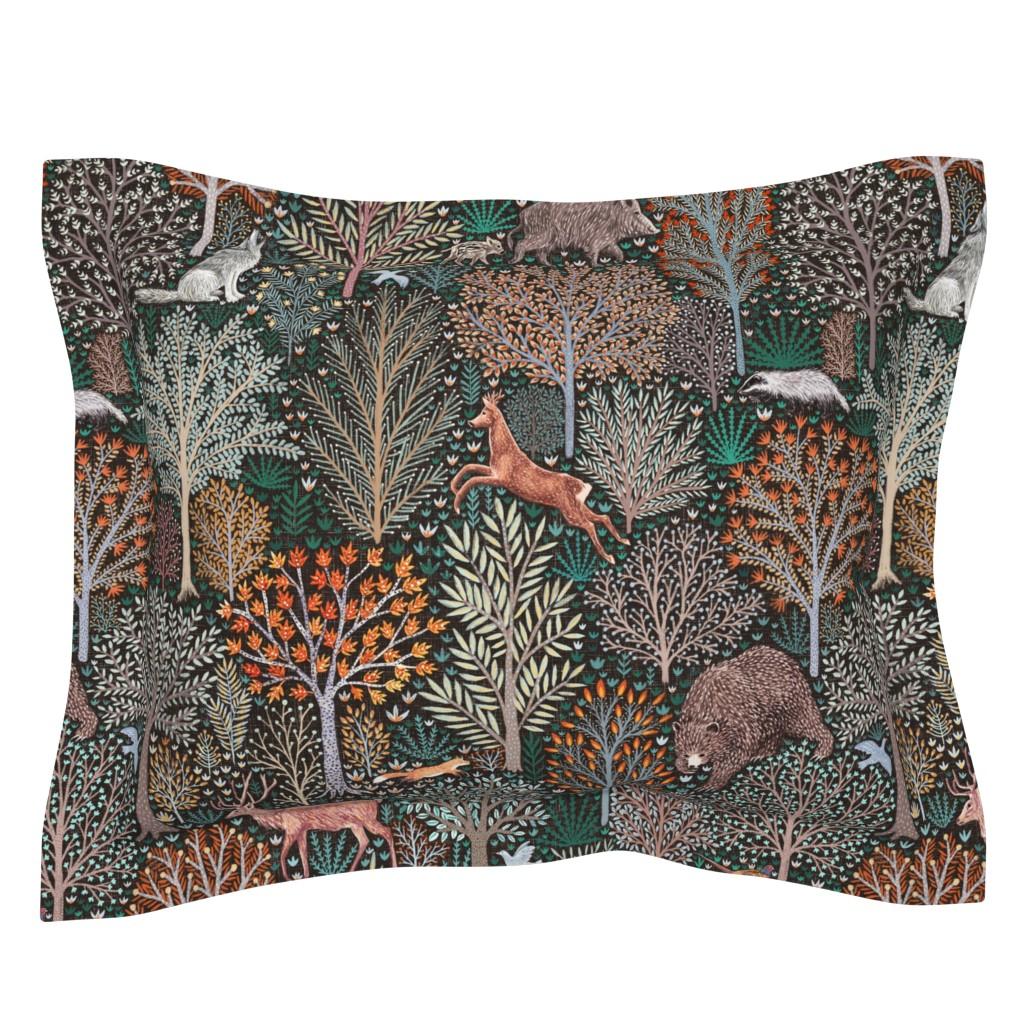 Sebright Pillow Sham featuring Rustic Fall - Forest animals - les animaux de la fôret by rebecca_reck_art