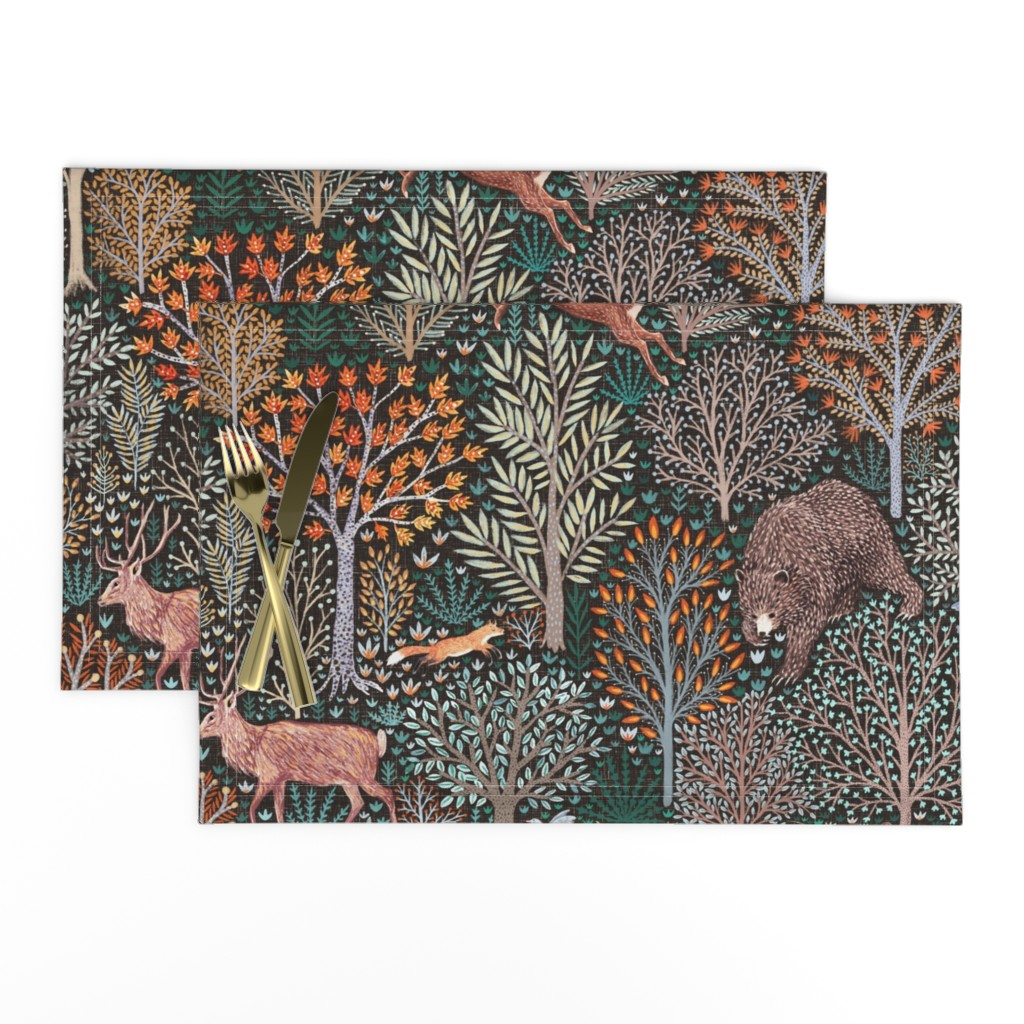 Lamona Cloth Placemats featuring Rustic Fall - Forest animals - les animaux de la fôret by rebecca_reck_art