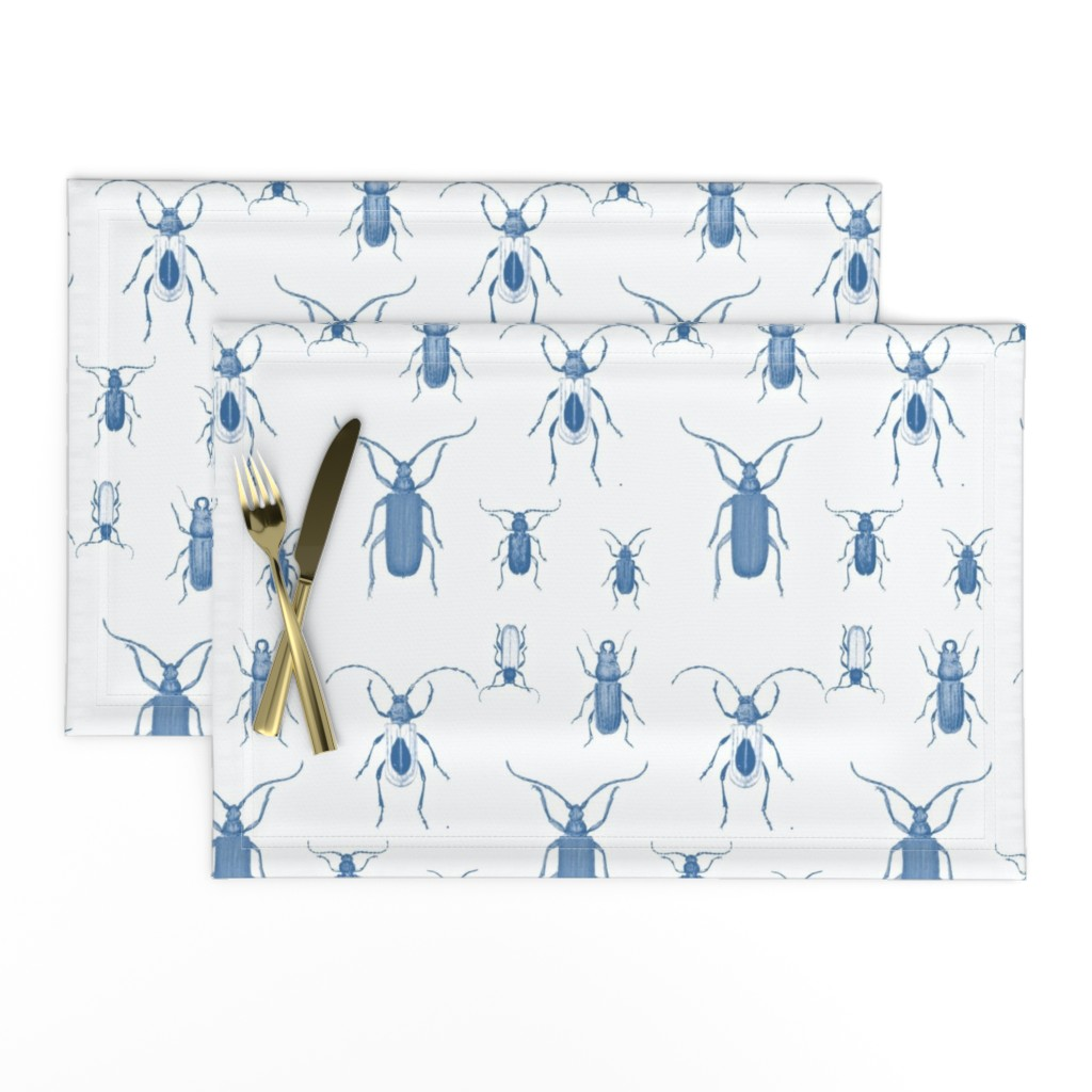 Lamona Cloth Placemats featuring Blue Bugs Toile by bettina_pedersen