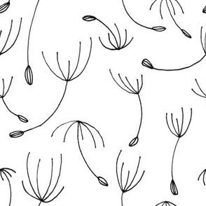 Dandelion Flower Seeds – black white