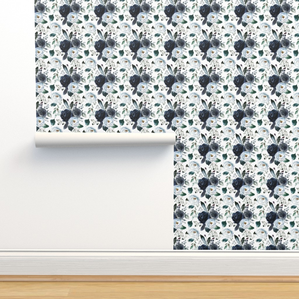 Isobar Durable Wallpaper featuring Boho Navy Peony Florals by hipkiddesigns