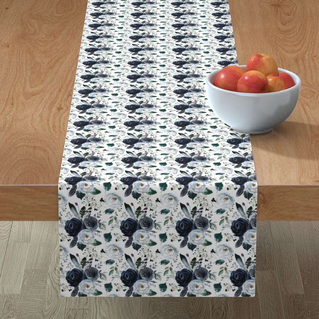 Minorca Table Runner featuring Boho Navy Peony Florals by hipkiddesigns
