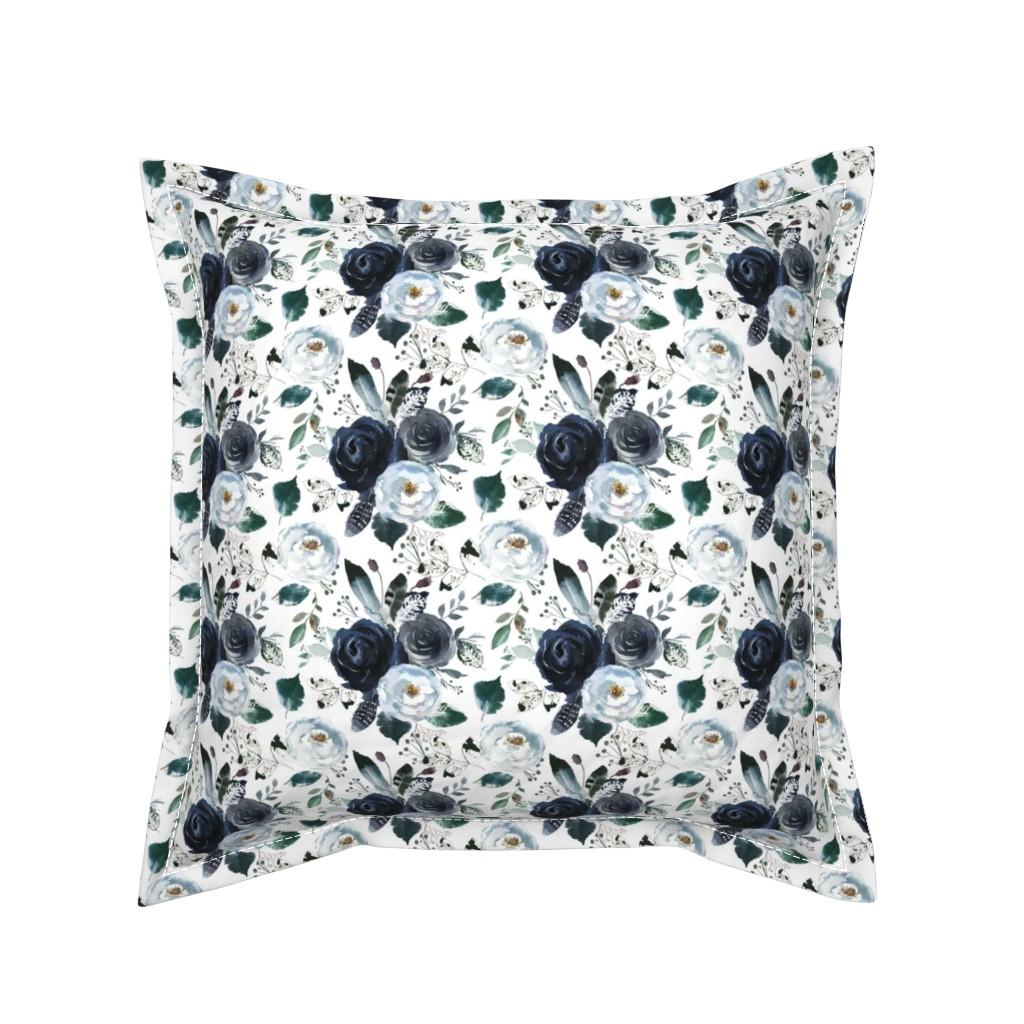 Serama Throw Pillow featuring Boho Navy Peony Florals by hipkiddesigns