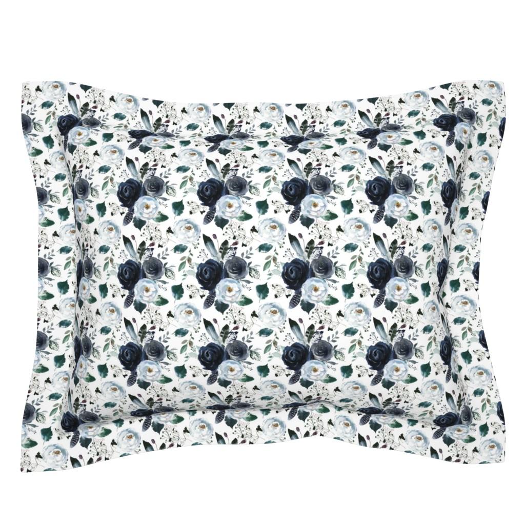Sebright Pillow Sham featuring Boho Navy Peony Florals by hipkiddesigns