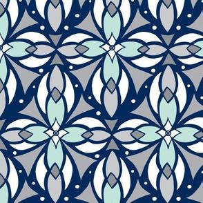 Leadlight - Geometric Navy Blue