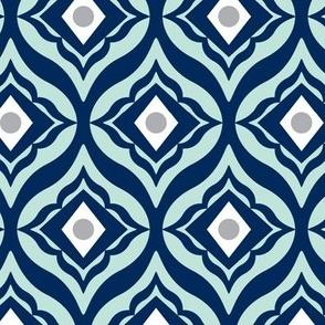 Trevino - Geometric Navy Blue & Mint