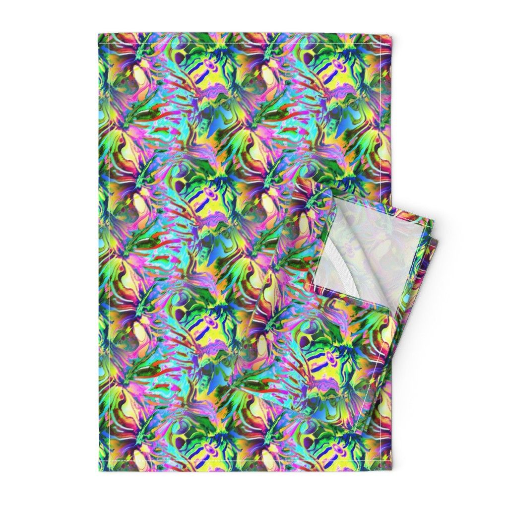 Orpington Tea Towels featuring INCREDIBLE FRUITY FLOWERS FLOWERY FRUITS ABSTRACT STRIPES 2 YELLOW AQUA TURQUOISE by paysmage