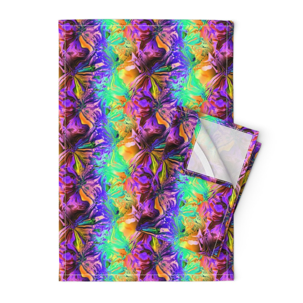 Orpington Tea Towels featuring INCREDIBLE FRUITY FLOWERS FLOWERY FRUITS ABSTRACT STRIPES 3 PURPLE VIOLET ORANGE MINT by paysmage