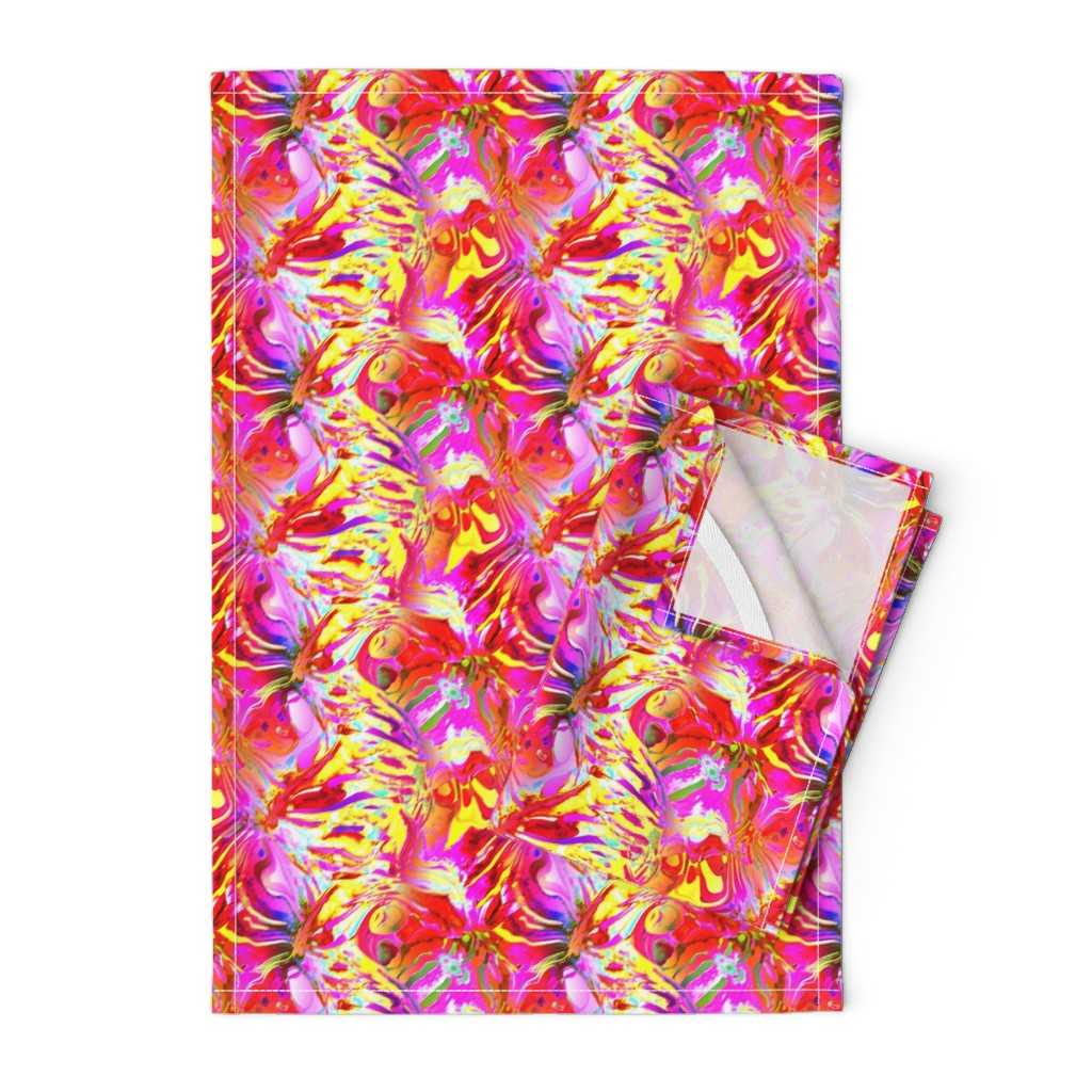 Orpington Tea Towels featuring INCREDIBLE FRUITY FLOWERS FLOWERY FRUITS ABSTRACT STRIPES 4  FUCSHSIA PINK YELLOW by paysmage
