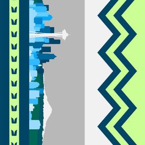 Seattle Sports Skyline Lime Green Navy Blue Chevron Border vertical
