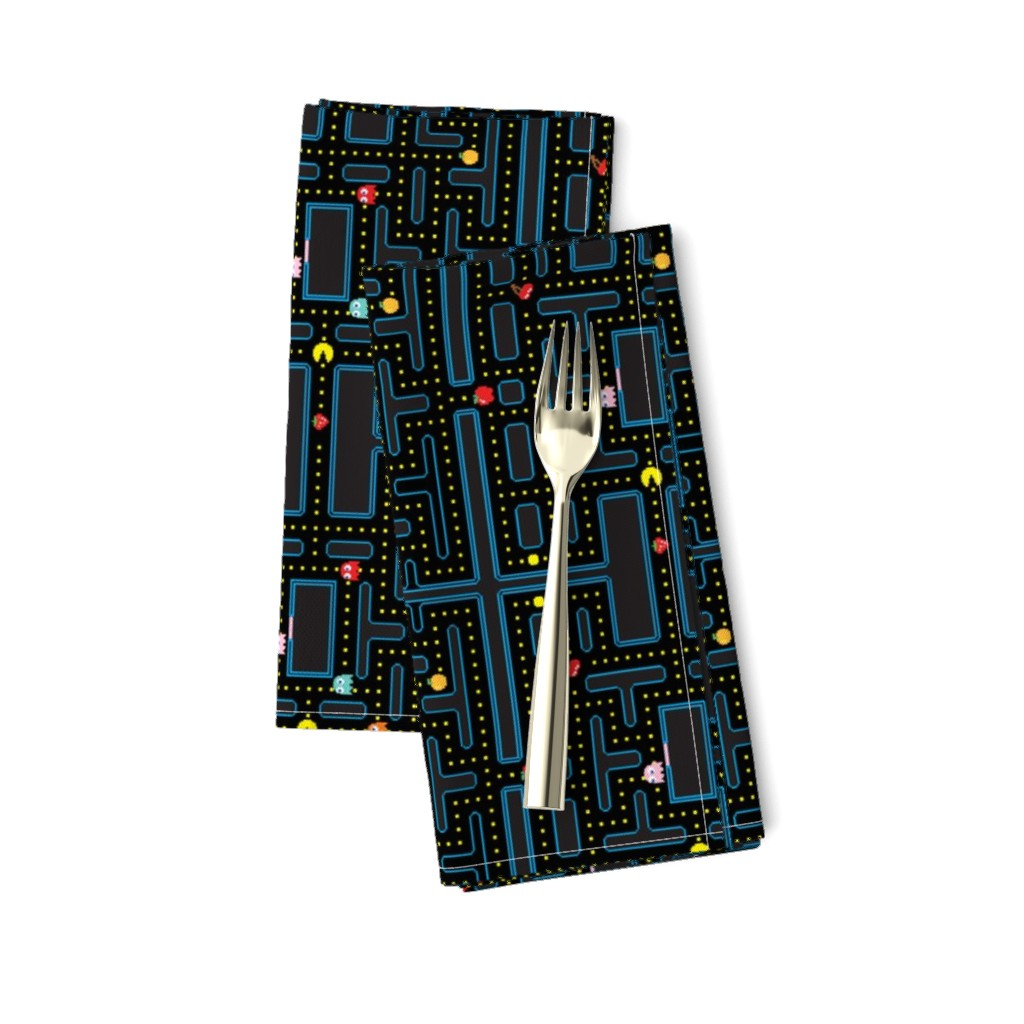 Amarela Dinner Napkins featuring Pacman Retro Video Game Pattern by furbuddy