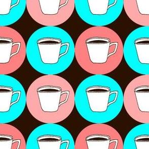 Retro Coffee Cups Brown