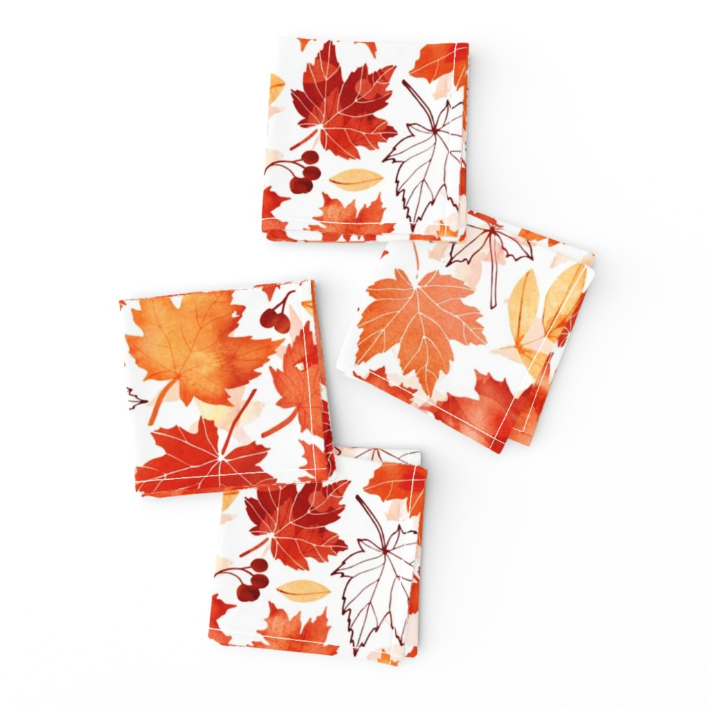 Frizzle Cocktail Napkins featuring Autumn leaves against white by adenaj